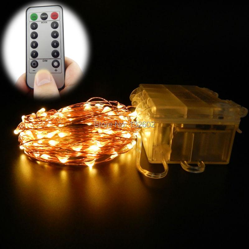 تعمل 33Ft / 16.5Ft 8 طرق للماء الأبيض الدافئ البطارية سلسلة أضواء LED أضواء الجنية أضواء عيد الميلاد مع جهاز التحكم عن بعد