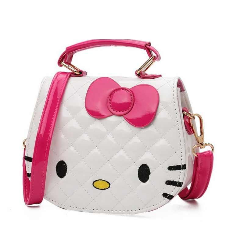 NEW Baby Girls Mini Messenger Bag Children Hello Kitty Handbag girls  Cartoon Cat shape PU Waterproof