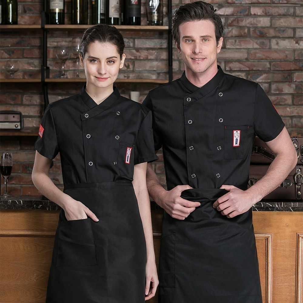 Отель Ресторан столовая кухня поварской китель летний шеф-повара Униформа с короткими рукавами парикмахерская Рабочая Рубашка унисекс свободный шарф подарок