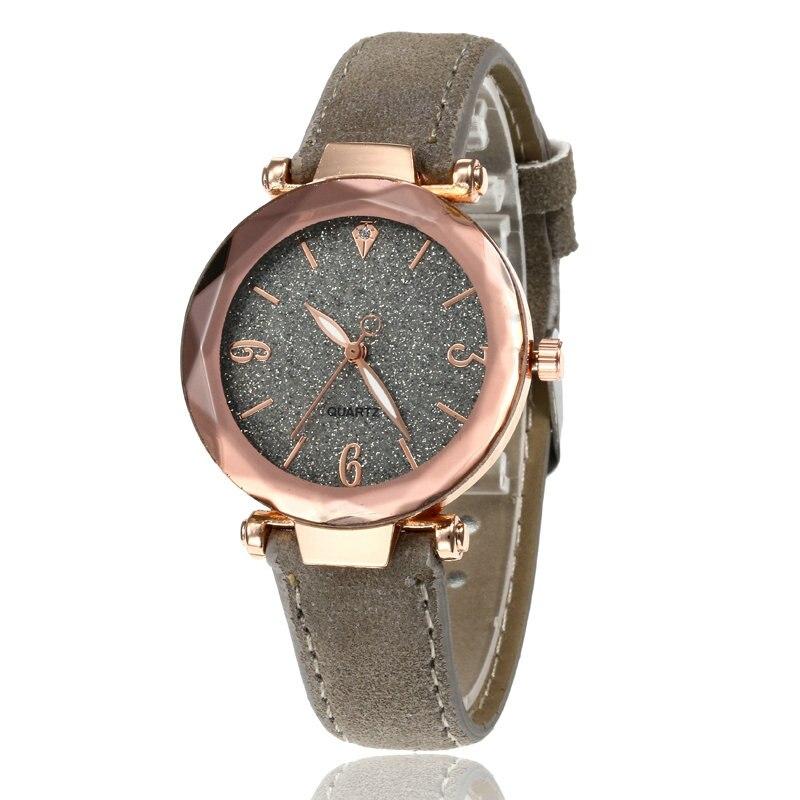 Маленькие свежие мягкие часы женские повседневные кварцевые часы кожа алмазный обруч звездное небо часы Женские Аналоговые наручные часы 100 шт/партия - Цвет: Серый