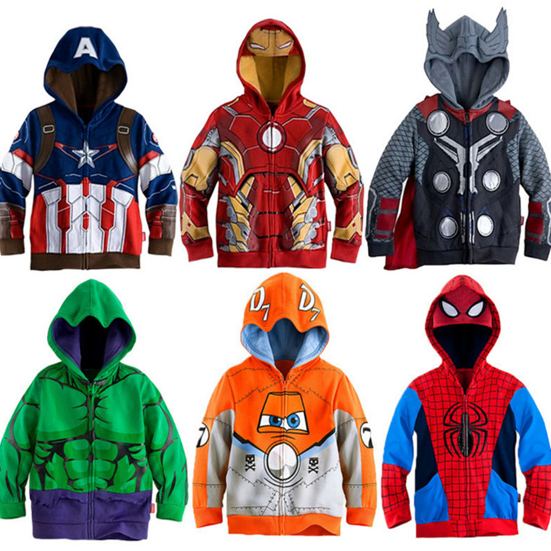Boys Sweatshirts Clothing Spiderman Hulk-Captain Iron-Man Children Outerwear Spring Super-Hero