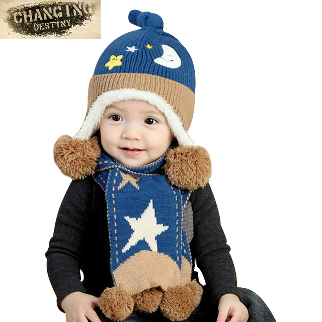 6 Months-3 Years Old Autumn Winter Children Hat suit Boys Girls Cartoon  moon the stars knitting Hat+scarf baby cap+neckerchief b051f5d7b22