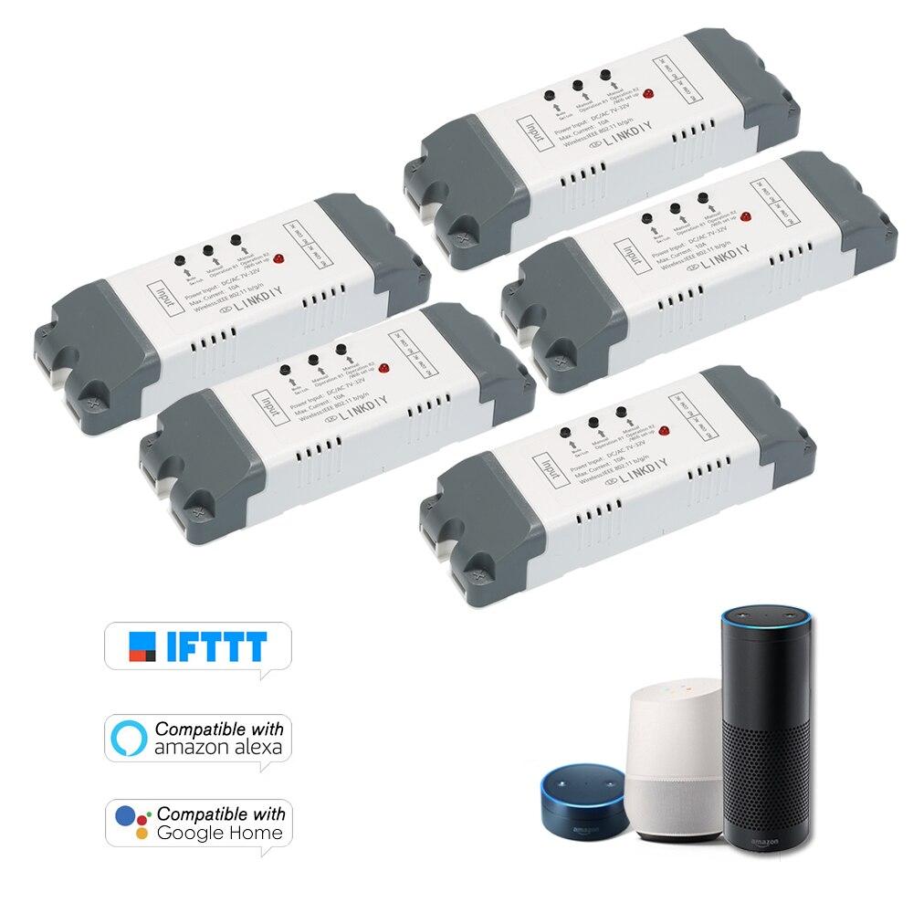 5 PCS 2CH Smart Wifi Switch Universal Module DC AC7 32V Wireless Switch Timer Phone APP