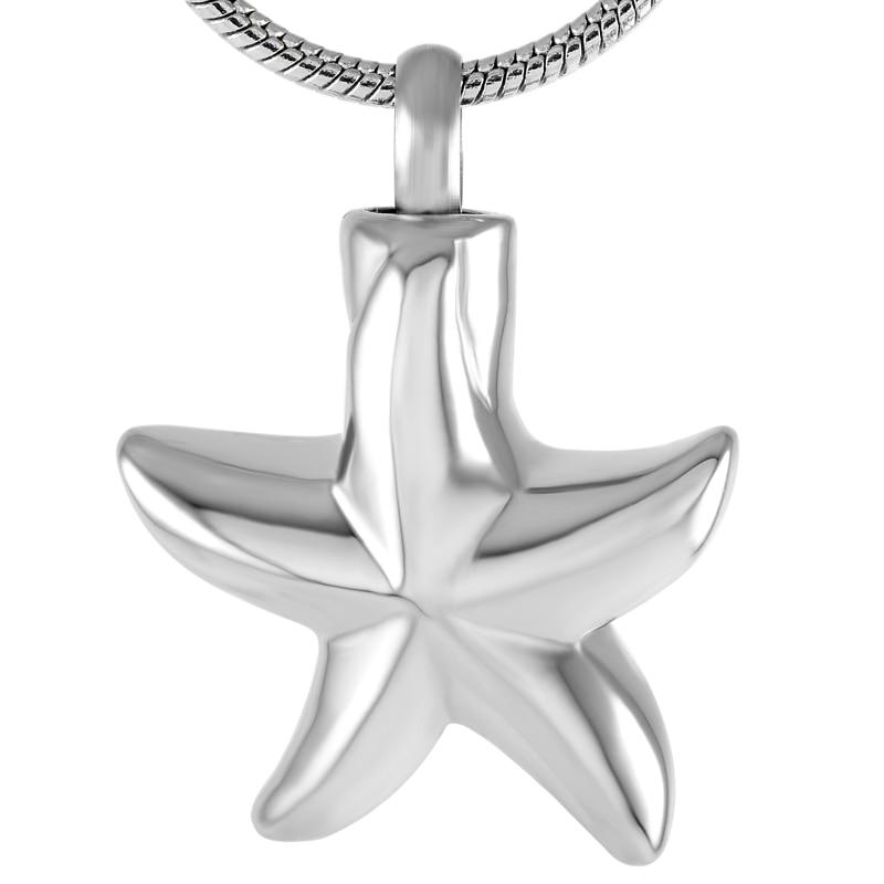 Starfish Forma Cinzas Urn Keepsake Urn Da Cremação Memorial Do Tema Do Oceano Pingente de Aço Inoxidável para o Presente Atacado Reta