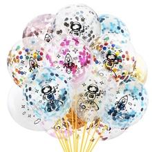 12 Inch Astronaut Rocket Party Balloons Confetti Latex Balloon For Kid Birthday Decoration Air