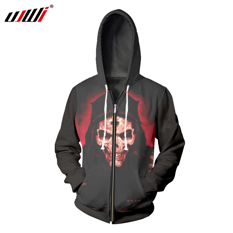 UJWI Men 2018 HOT SALE Fashion Mens Casual 3D Printer Red Skull Avenger Black Zipper Pullove Novelty Zip Fleece Harajuku