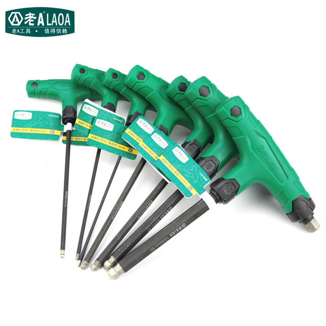 LAOA Hexagon Socket Key With T-handle Hex Wrenches S2 Anti-slide Corundom High Torque Wrench Prelong Hex Screwdrivers