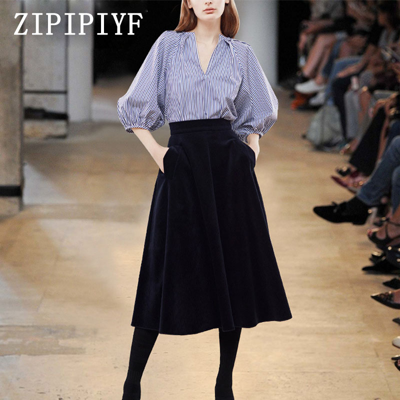 ZIPIPIYF 2017 Autumn Clothing Two Pieces Set Women V Neck Striped Shirt+Elastic Waist Pocket Casual Gown Skirt Suits