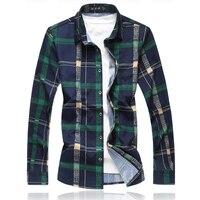 Big Men S Luxury Fashion Long Sleeve Shirts Autumn New Casual Plaid Social Camisa Masculin Plus