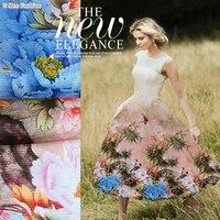 SO122 100% Natural Silk Organza/Blue Peony/Silk Fabric Mulberry Silk Grids/Width 1.48yd Thickness 12mm