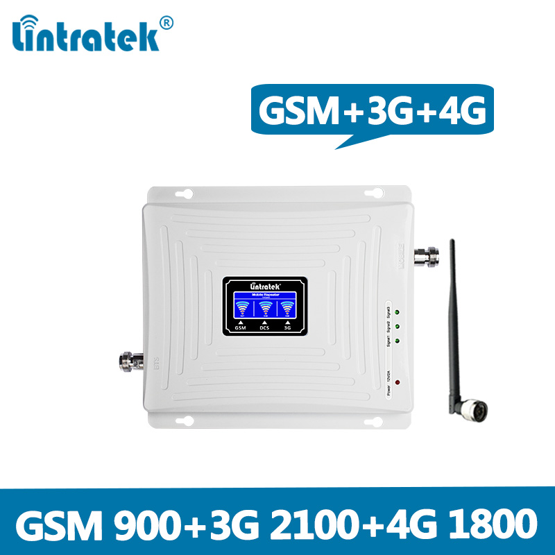 Lintratek 2G 3G 4G Tri Band Cellular Signal Repeater GSM 900 1800 2100 DCS WCDMA Signal Booster Cellphone Amplifier GSM 3G 4G @5