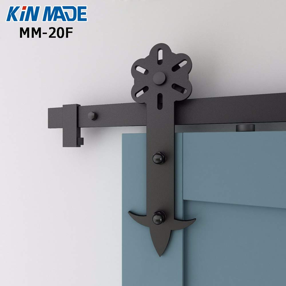 Flower Black Steel Sliding Barn Door Hardware for Interior font b Closet b font Doors