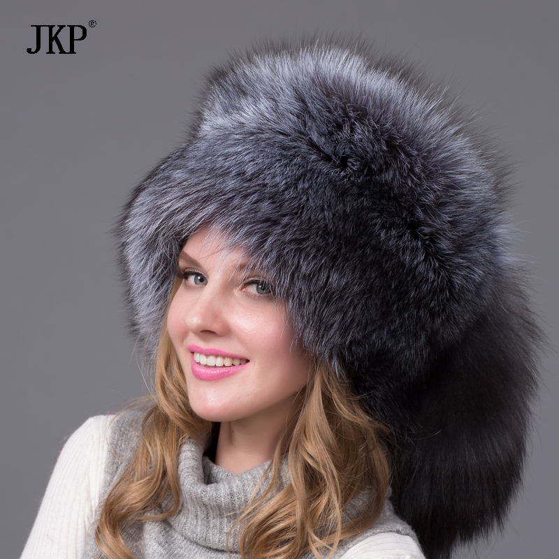 JKP real fox fur autumn and winter women's natural fox fur oversized tail cap Russian style fashion hat bomber women's HJL-03