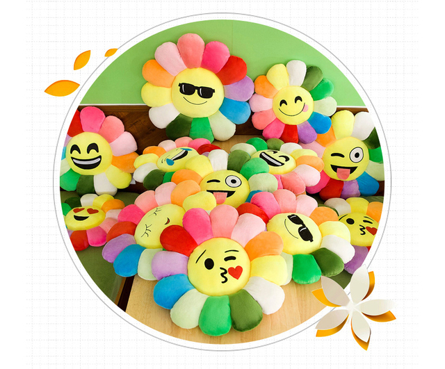 Creative Sunflower Smiley Face pillow Plush Emotion Toy Chair Seat Cushion Coussin Cojines Christmas whatsapp emoji pillow