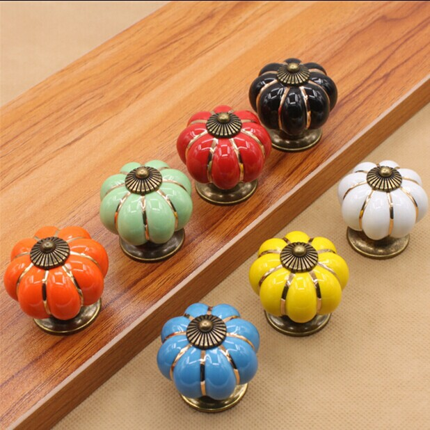 seven colour pumpkin type knob red blue ceramic drawer knob pull handle white black kitchen cabinet handle knob furniture knobs 10pcs kitchen furniture pull pumpkin shape pastoralism ceramic knob various color single hole knobdrawer knob dia 40mm