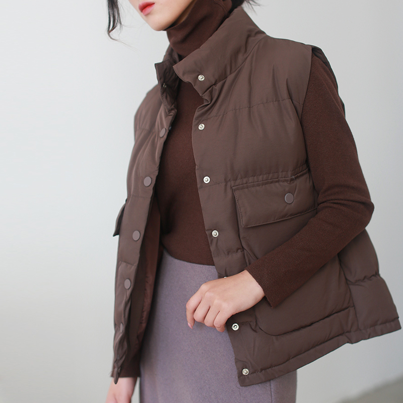 autumn winter woman down coats stand collar sleeveless thick jackets coats fashion solid cotton liner casual coats coffee