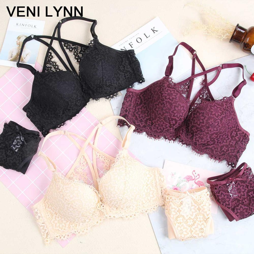 9238f25c74e VENI LYNN 3/4 Cup Summer Front Closure Lace Lingerie Set Underwear Thin Bra  Hollow s For Women -in Bra & Brief Sets from Underwear & Sleepwears on ...