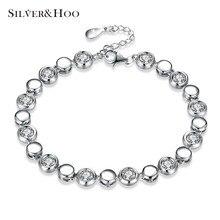 SILVERHOO 925 Sterling Silver Bracelets Elegant Simple Design Round Cut Cubic Zircon Bracelet Charming Bangle for Women Jewelry