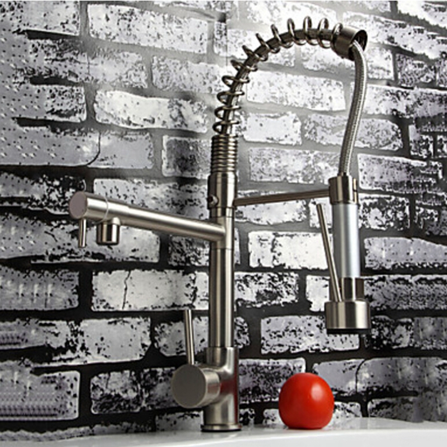 popular nickel faucet kitchen buy cheap nickel faucet kitchen lots wholesale and retail promotion luxury brushed nickel faucet vessel sink kitchen faucet mixer tap dual swivel