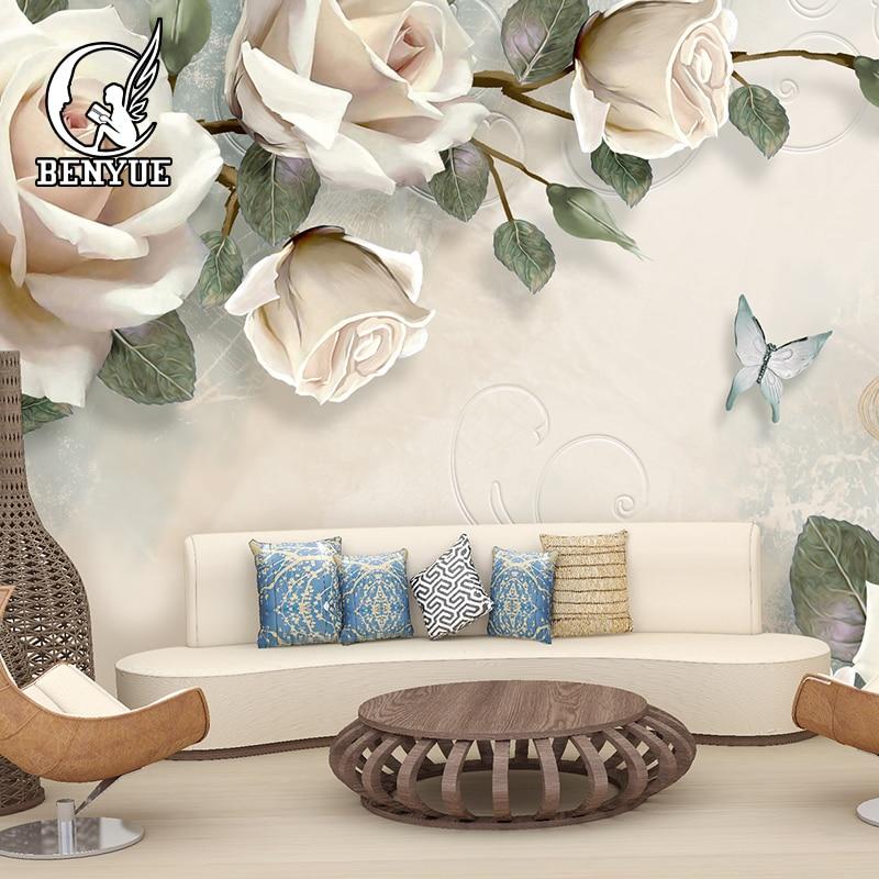 Custom Photo 3d Wallpaper Pastoral Style Roses Mural