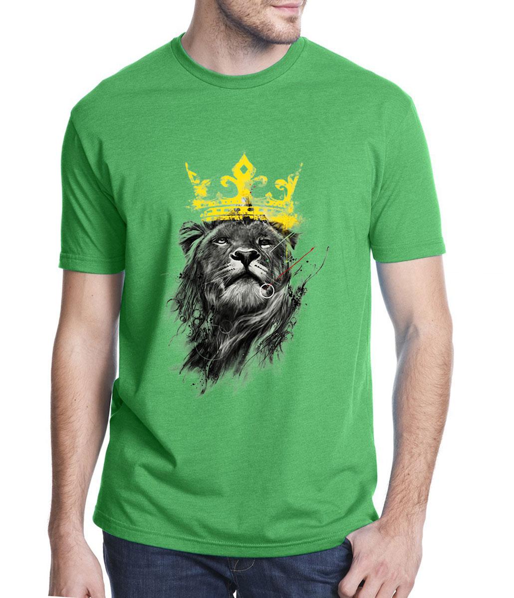 men's casual short sleeve t-shirt king of lion funny printed t shirts for man 2019 summer harajuku tee shirt homme O-neck tops