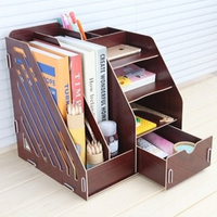 Office Sundries Wood Desk Organizer with Drawer Expandable Mail Sorter Desktop Stationary Organizer Storage Bin for The Office