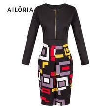2016 New Womens Elegant Zipper Tartan Geometric Wear to Work Business Pencil Sheath Bodycon Dress 605
