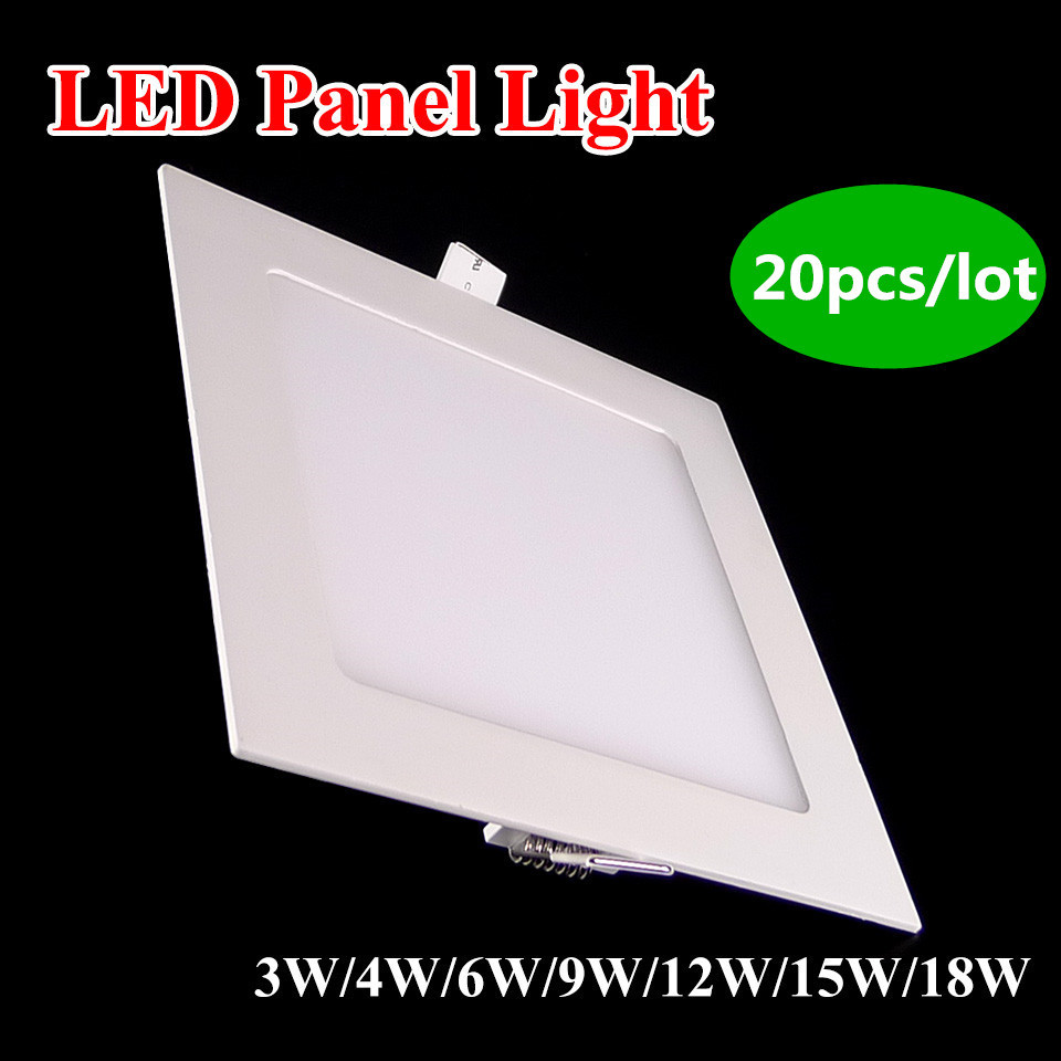 Led panel light dimmable 3w 4w 6w 9w 12w 15w 18w ceiling recessed luminaire square lights