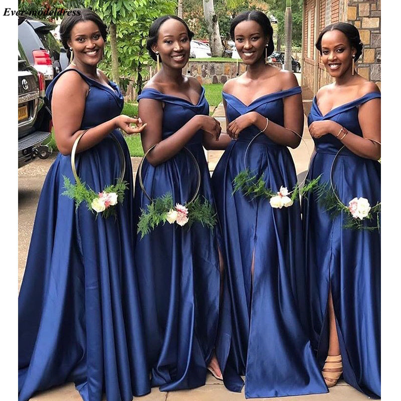 2019 African Royal Blue   Bridesmaid     Dresses   Off The Shoulder Simple Summer Country Wedding Guest   Dress   With Side Slit Customized