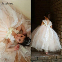 Lace Champagne Flower Girl Dress Floor Length Puffy Tulle 2019 Boho Chic Couture Girls Birthday Dress Communion Gown Size 2 14Y