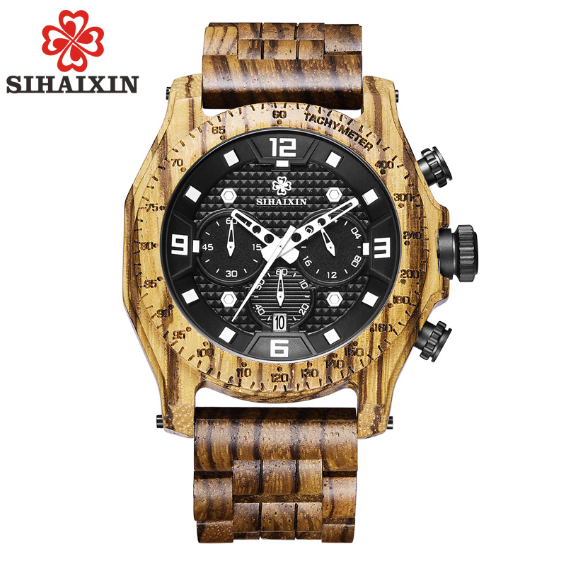 SIHAIXIN Wooden Watch Male Top Brand Luxury Business Waterproof Quartz Men's Sport Chronograph Zebra Bamboo Wood Band Clock Man