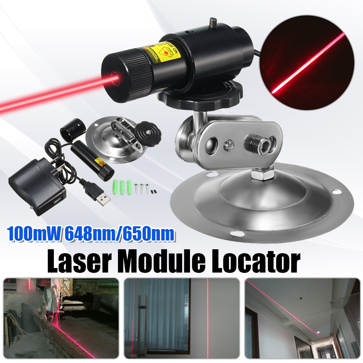 Focusable 648nm 650nm 100mW Red Laser Line Module Locator Cutter For Wood Fabric Stone Cutting With Adapter And Mount