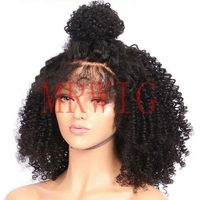 MRWIG Black/Brown/Blonde afro kinky curly glueless front wig baby hair 20inch real hair for woman 180%high density 350g stock