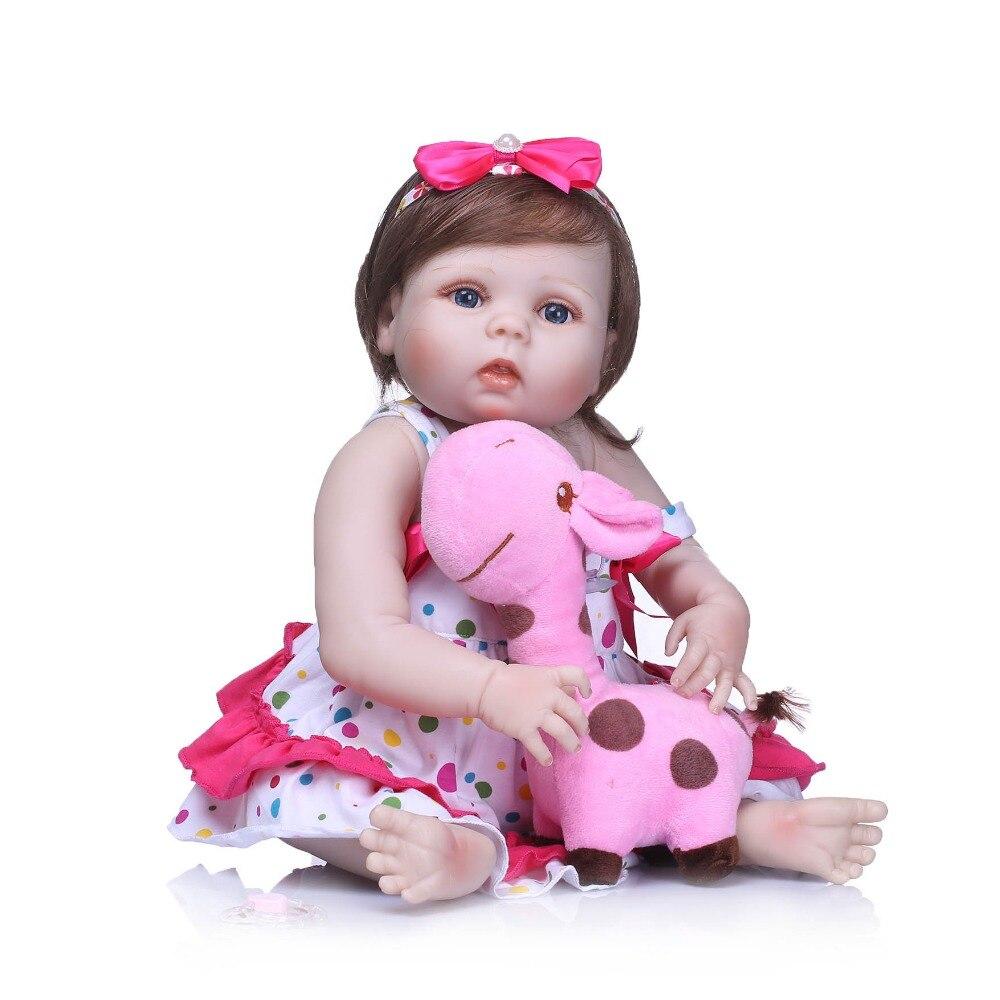 NPKCOLLECTION Full Vinyl Silicone Reborn Girl Baby Doll Toy Lifelike Pink Princess Dress Newborn Babies Doll Cute Birthday Gift