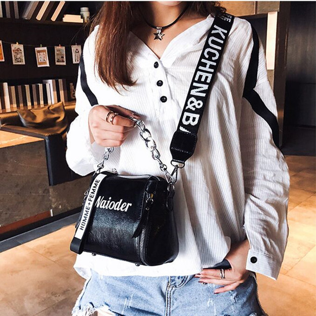 DikizFly Laser Women Bags Fashion Luxury Shoulder Handbags Chains Crossbody Bag Women 2018 Letter Mini Flap Purse bolsa feminina 2