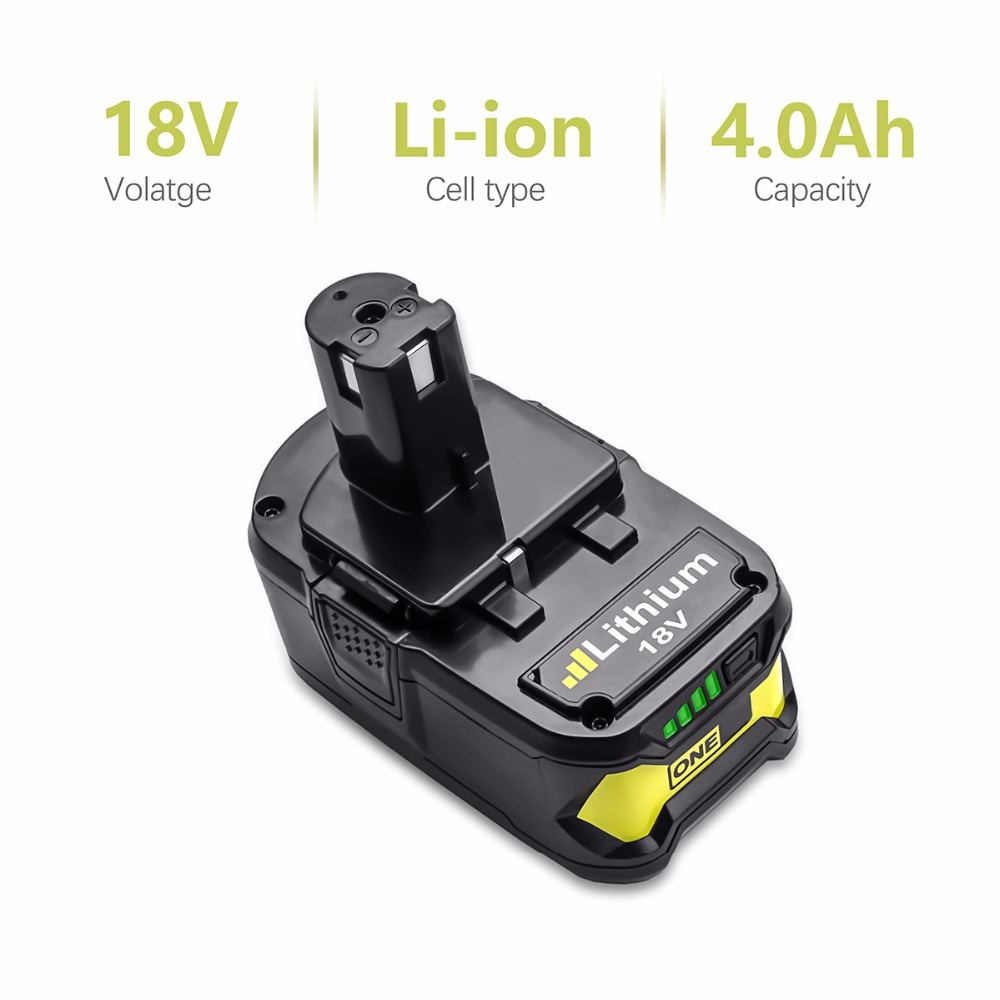 For Ryobi 18V 4000mAh P108 RB18L40 Lithium Ion Rechargeable Battery Pack Power Tools Battery Ryobi ONE+ L10 лобзик ryobi one r18js 0