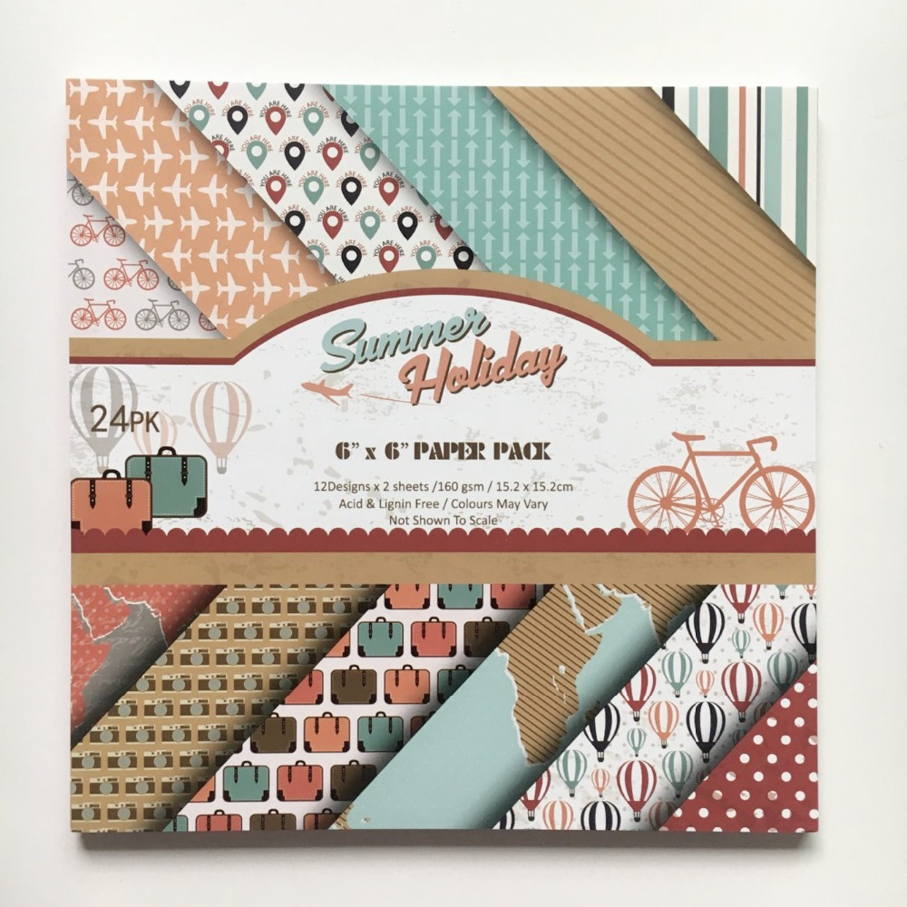 Scrapbook paper aliexpress - 6 Wonderful Summer Holiday Travel 24sheets Set Acid Free Background Diy Scrapbooking Paper Pack Paper Pads