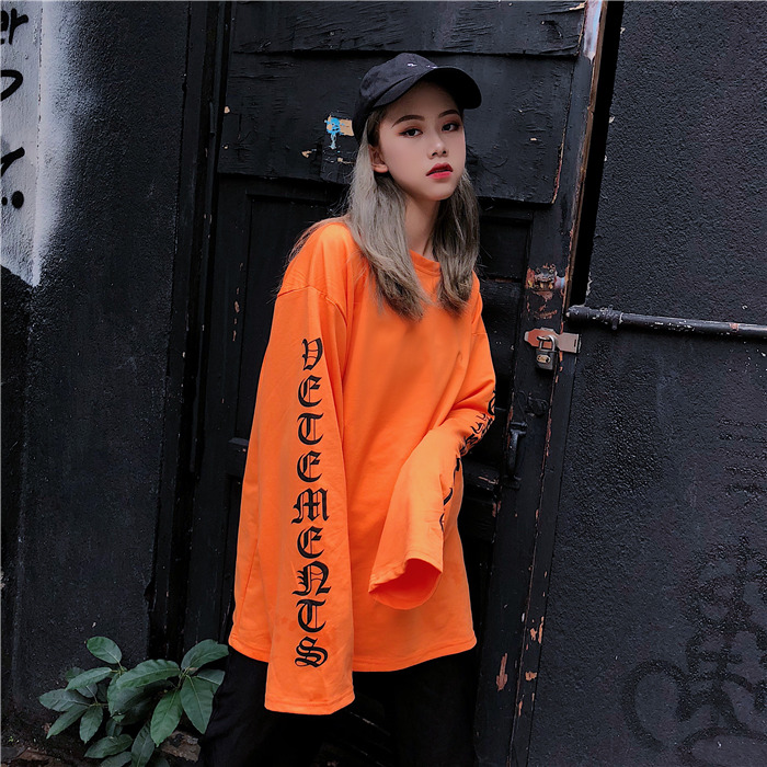 T-shirt Women Autumn O-Neck Letter Printed Loose Long BF Harajuku T-shirt Womens Korean Style Trendy Hip Hop Students Tees Chic 3