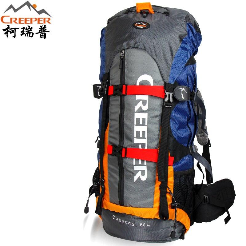 Creeper จัดส่งฟรี Professional Rucksack กันน้ำภายนอกกรอบเดินป่าปีนเขากระเป๋าเป้สะพายหลัง Mountaineering กระเป๋า 60L