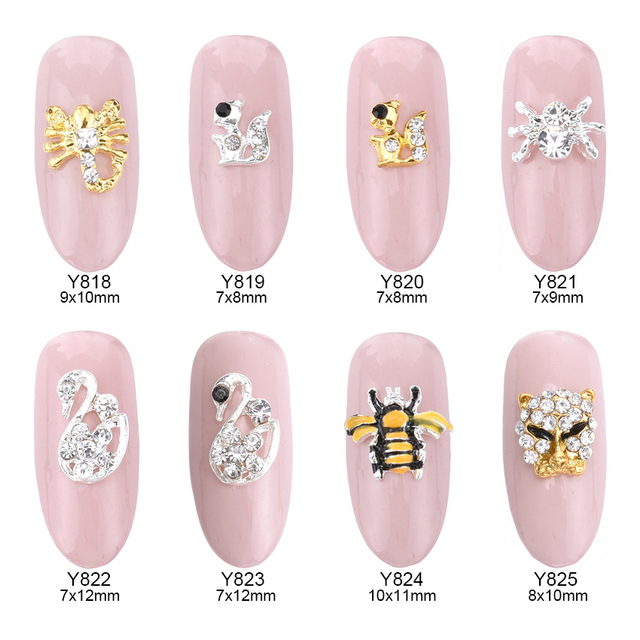 10pcs Animal Designs Nail Studs Gold Scorpions Squirrel Strass