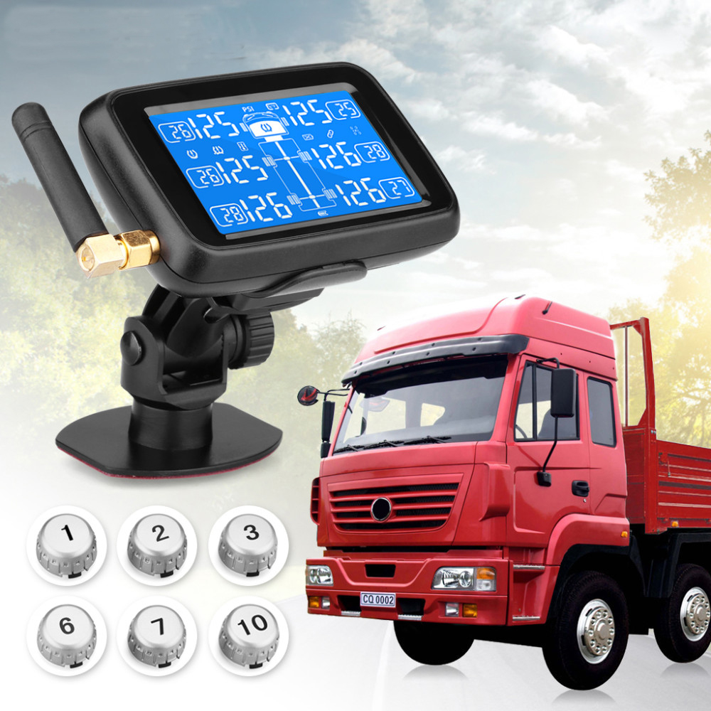 U901 Auto Truck TPMS with 6 External Sensors Car Wireless Tire Pressure Monitoring System Replaceable Battery