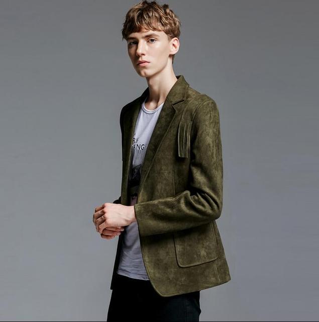 Olive jackets men 2017 tassel chamois coat mens long sleeve ...