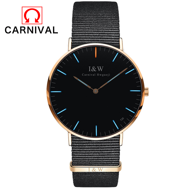 Brand CARNIVAL Watches Women Fashion Casual Sport Clock Classical Nylon Male Quartz Wrist Watch Luminous watches Relogio Feminin  new top brand watches men women fashion casual sport clock classical nylon male quartz wrist watch relogio masculino feminino