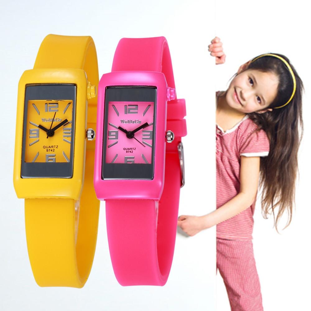 Fashion Children Watches Pink Silicone Band Wrist Watch Square Dial Quartz Wristwatches Women Sport Clock Montre Femme 2018 Gift