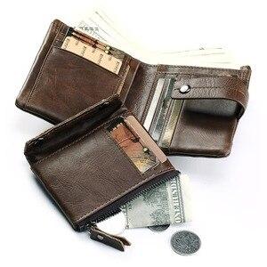 Image 4 - KAVIS Echtem Leder Brieftasche Männer Geldbörse Männlichen Cuzdan PORTFOLIO MANN Portomonee Kleine Mini Rfid Walet Tasche Mode Mann Vallet