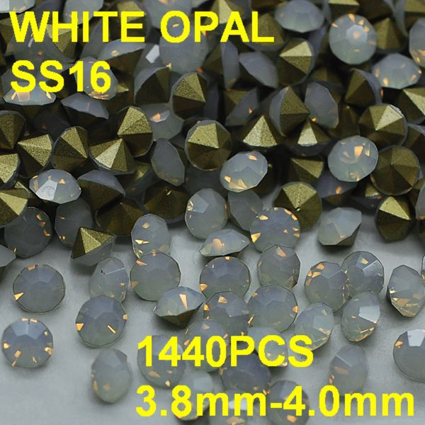 SS16 1440pcs/bag  Fashion Opal Rhinestones for Nail Art 3.8mm-4.0mm Point Back White Color  Nail Art Rhinestones Decoration