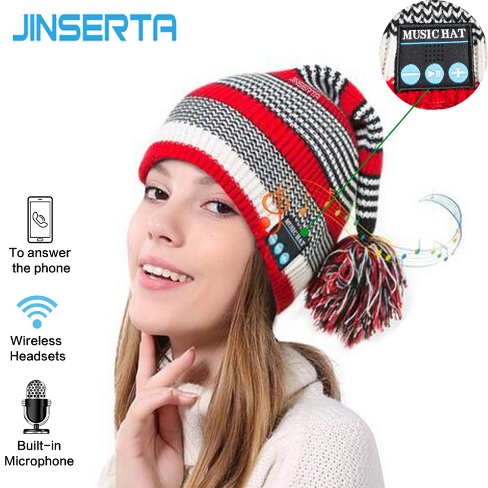 JINSERTA Newest Bluetooth Smart Cap Headset Headphone Music Christmas Warm Beanie Hat Wireless Mic Headphone for iPhone warm bluetooth hat knitted winter beanie hats music upgrade bluetooth 4 0 speaker sport women men bluetooth headset christmas