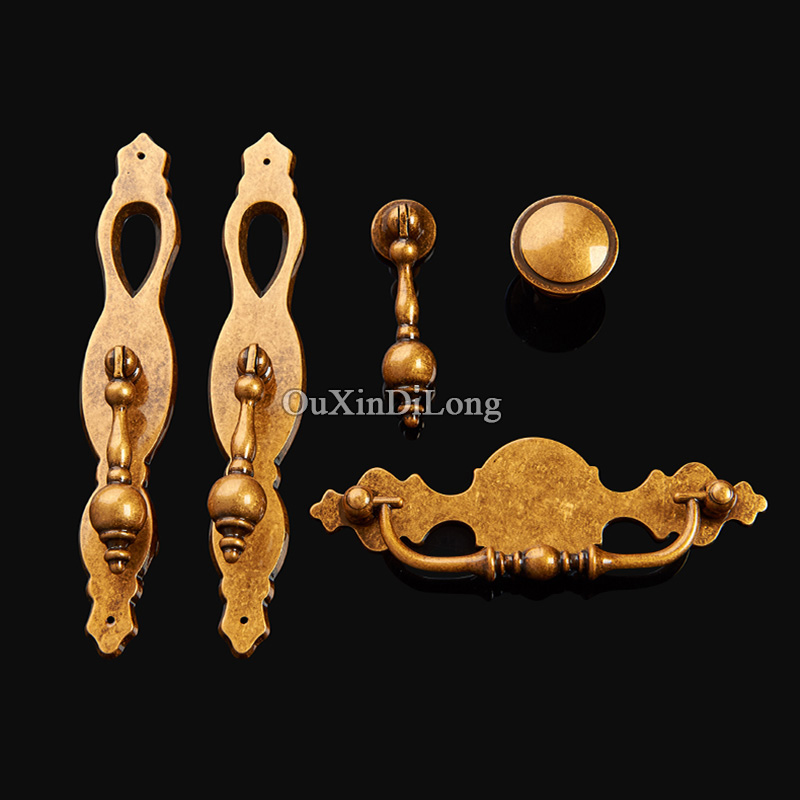 High Quality 10PCS European Brass Kitchen Door Furniture Handles Vintage Cupboard Drawer Wardrobe Cabinet Pull Handles and Knobs 1 pair 96mm vintage furniture cupboard wardrobe handles and knobs antique bronze alloy kitchen cabinet door drawer pull handle