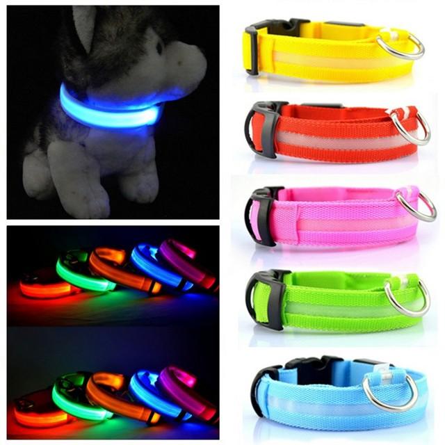 Nylon led  Pet Collar  Flashing dog necklace Safety animal Leash   Light-Up pet supplies