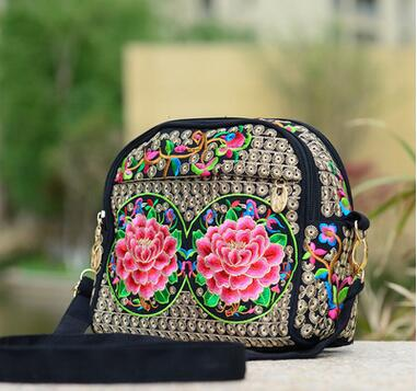 New Coming Women's Embroidered Shoulder bag!Hot Vintage one-shoulder&Handbags Fashion cross-body Lady Floral Double-Zippers bags
